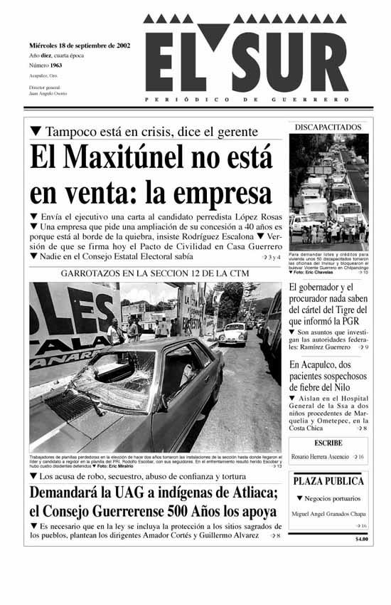 18-09-02 – El Sur Acapulco suracapulco I Noticias Acapulco Guerrero