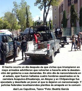 Llegan 200 policías a Chilapa y patrullan militares